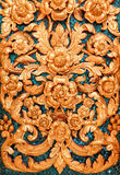 Thai Motifs on wall at Buddhist Church Stock Image