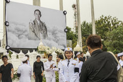 Thai mourners take picture after Mourning Ceremony of King Royalty Free Stock Photography