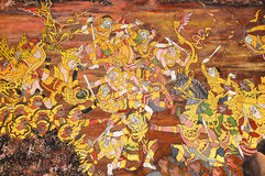 Thai Mural. In Prakeaw temple, Bangkok, Thailand. It is a part of Ramayana story, the literary masterpiece of Hindu from India. This scene is fighting of Monkey Royalty Free Stock Photo