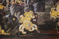 Thai Mural Painting Stock Photo