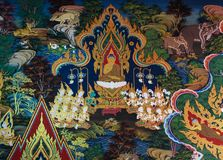 Thai mural painting art. Ancient Buddhist temple mural painting of the life of Buddha in Ayutthaya, Thailand stock photos