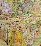 Thai mural painting art of Lanna Buddhist festival Stock Photography