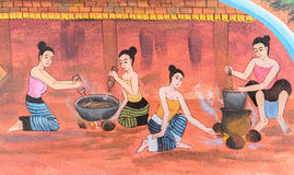 Thai mural painting art Royalty Free Stock Image