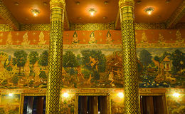 Thai Mural Painting about Buddha's History in Public Temple Stock Photography