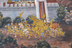 Thai Mural Painting. Fairy tale animal in native Thai style painting on wall of Buddhist church Royalty Free Stock Photo