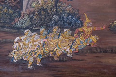 Thai Mural Painting. Fairy tale animal in native Thai style painting on wall of Buddhist church Stock Photos