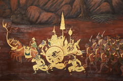Thai mural painting and gilding. Royalty Free Stock Photography