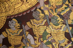 Thai mural painting and gilding. Royalty Free Stock Images