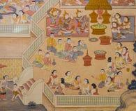 Thai Buddhist temple mural painting Stock Photo