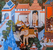 Thai mural painting of the life of Buddha Royalty Free Stock Photography