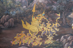 Thai Mural Painting. In native Thai style painting on the wall Stock Images