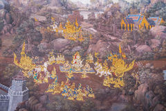 Thai Mural Painting. In native Thai style painting on the wall.Generality in Thailand,any kind of art decorated in Buddhist church,temple pavilion,temple hall Stock Photo