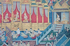 Thai Mural Painting in sanctuary Royalty Free Stock Images