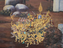 Thai Mural Painting in sanctuary  Wat Phra Kaew Royalty Free Stock Photo
