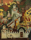 Thai mural painting on temple wall Stock Images