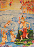 Thai mural painting on temple wall. Thailand is a popular mural writing a story about angels heavenly temple wall Royalty Free Stock Image