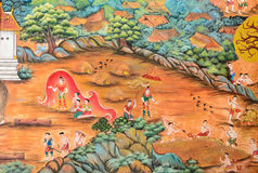 Thai mural painting of Thai Lanna life in the past on temple wal Royalty Free Stock Photos