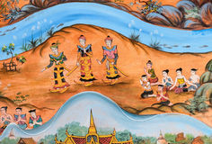 Thai mural painting of Thai Lanna life in the past Stock Photo