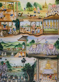 Thai mural painting of Thai people life Royalty Free Stock Images