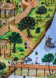 Thai mural painting of Thai people life Stock Images