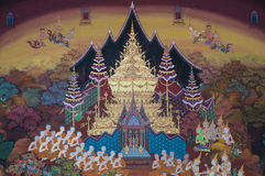 Thai Mural Painting on the wall, Wat Pho, Bangkok, Thailand. Generality in Thailand, art decorated in Buddhist church etc.no restrict in copy or use Royalty Free Stock Photos