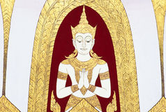 Thai Mural Painting on the wall, Wat Pho, Bangkok, Thailand Stock Image
