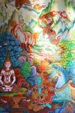 Thai mural paintings. Wall paintings in temple stock photos
