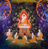 Thai mural. Traditional Thai mural painting of the Life of Buddha Stock Photography