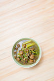 Thai mushroom soup with tamarind leaves. Royalty Free Stock Photography