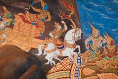 Thai mythical creatures. Thai god, mythical creature, Thailand Grand Palace, detail, mural painting Royalty Free Stock Photography