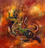 Thai mythology lion Sigha painting. Watercolor and gouache painting of Sigha (Thai mythology lion). Drawn with dip pen using black ink. Creature from traditional Royalty Free Stock Photos