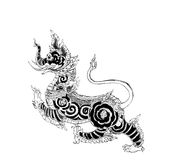 Thai mythology lion Sigha pen illustration. Black and white Sigha (Thai mythology lion). Drawn with dip pen using black ink. Creature from traditional tale. You Stock Photos