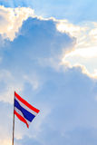 Thai nation flag with blue sky Stock Images
