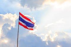 Thai nation flag with blue sky Royalty Free Stock Photos