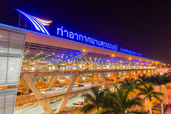 Thai national airport : Suvarnabhumi Airport. Samut Prakan, Thailand - February 28 2014 : Currently, Suvarnabhumi Airport is a center of Thai aviation, both Royalty Free Stock Photography