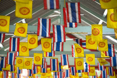 Thai national flag and dharmachakra flag decoration Stock Photos