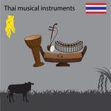 Thai National Musical Instrument, national flower of Thai. Vector illustration Stock Images