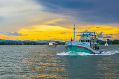 Thai native fisherman boat Royalty Free Stock Images