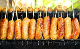 Thai native sausage called  E-sarn sausage grill Stock Images