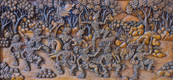 Thai native wood carving Royalty Free Stock Image