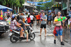 Thai New Year - Songkran. Revellers celebrate the Thai New Year near Khao San Road on April 12, 2013 in Bangkok, Thailand. The Thai New Year, or Songkran, is Royalty Free Stock Image