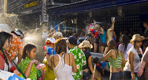 Thai new year - water festival. BANGKOK - APRIL 14 2009: Songkran (thai new year / water festival) is celebrated from april 13 to 15. people roam the streets and Stock Photo