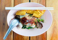 Thai noodle. Fish dumpling with vegetable Stock Photos