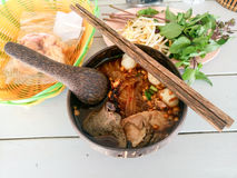 Thai noodle with bowl from coconut Stock Images