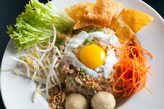 Thai Noodle Dish with Fried Egg Stock Images