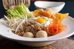 Thai Noodle Dish with Fried Egg Stock Photo