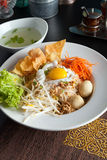 Thai Noodle Dish with Fried Egg Stock Photography