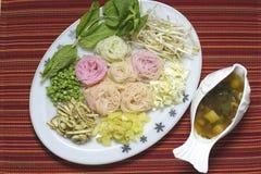 Thai noodle dish. Khanom Jeen with taipla sauce Royalty Free Stock Image