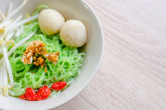 Thai Noodle with fish ball and crispy pork skin Royalty Free Stock Photo