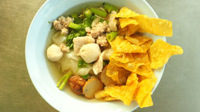 Thai noodle fish and pork soup Royalty Free Stock Photo